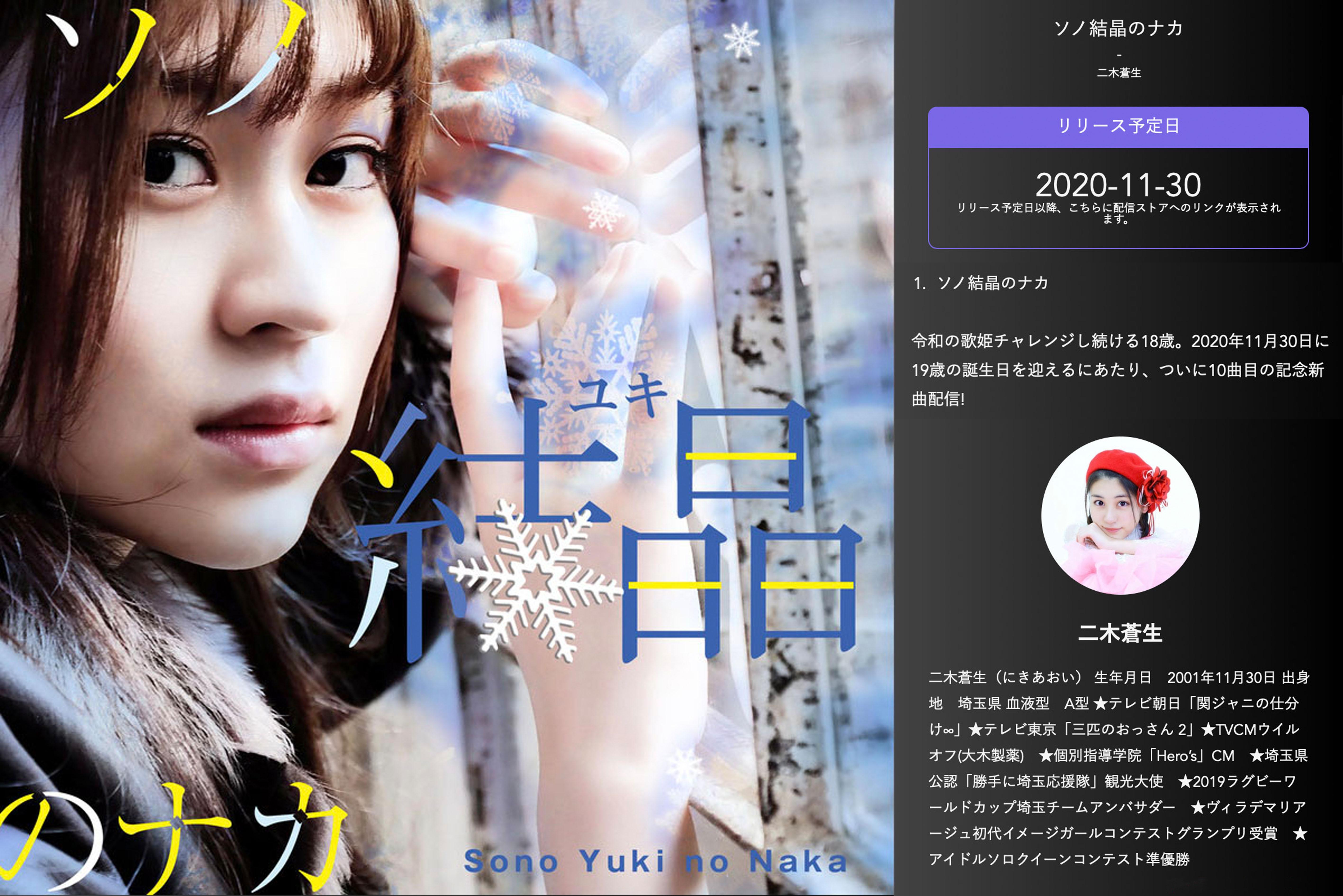 11/30(月)2020年〜2021年冬の新曲「ソノ結晶(ユキ)のナカ」配信開始